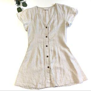 Harper Buttoned Linen Short Dress Size 6